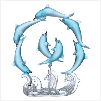 Blue Glass Playful Dolphin Circle