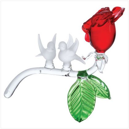 Glass Red Rose with White Doves