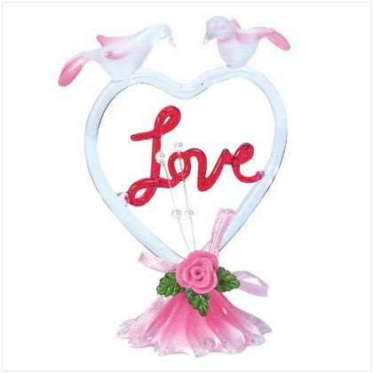 Glass Heart Shaped Love with Doves
