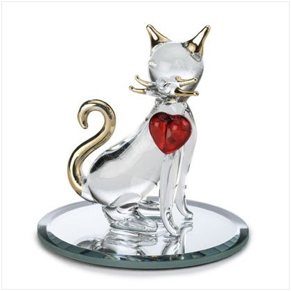 Glass Kitty with Ruby Heart