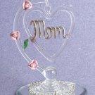 "Spun-Glass Dangling ""MOM"" Heart"