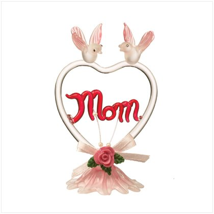 """Glass """"MOM"""" Heart With Pink Birds"""