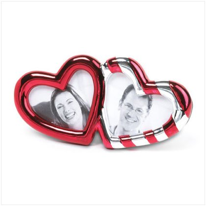 Double Heart Red Stripe Frame