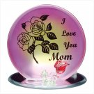 "Glass ""I Love You Mom"" Plaque Candleholder"