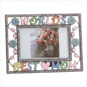 """Colorful  Pewter """"Worlds Best Mom"""" Photo Frame"""
