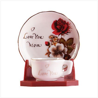 """""""I Love You Mom"""" Cup and Saucer"""
