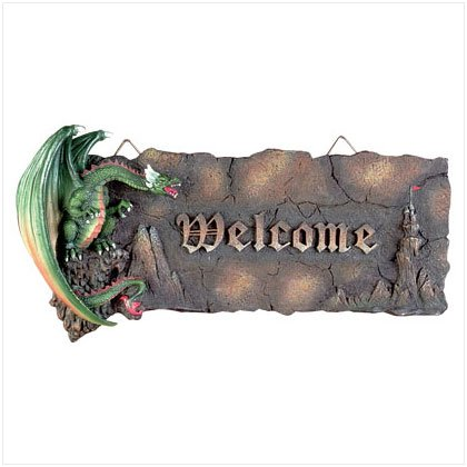 Green Dragon Medieval Welcome Plaque