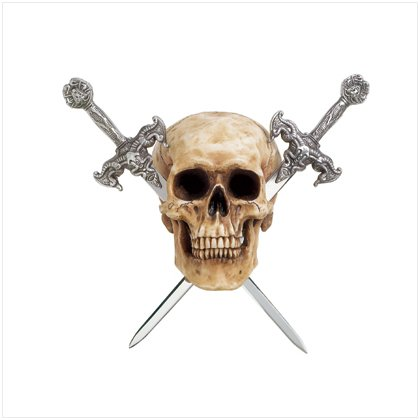 Skull With Two Metal Sword Letter Openers