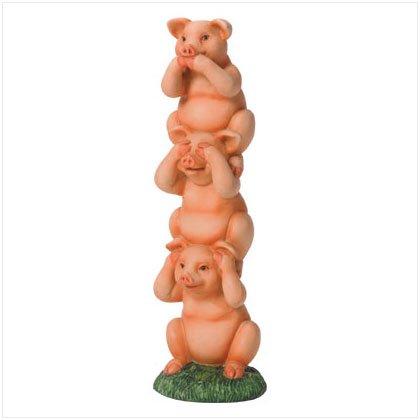 See, Hear, Speak No Evil Pig Totem Pole