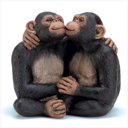 Kissing Monkey Couple Figurine