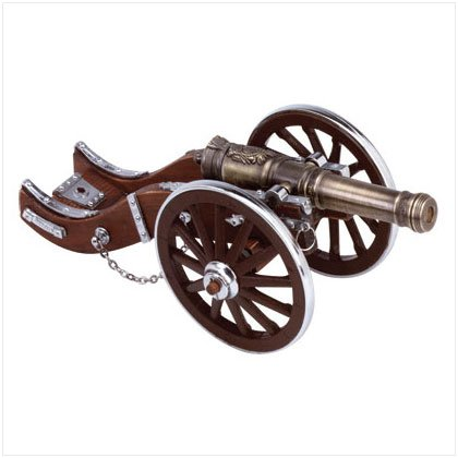 Metal & Wood Civil War Cannon Figurine