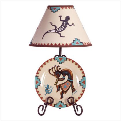 Kokopelli Decorative Plate, Rack and Lamp Set