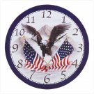 Soaring Eagle and Flag Wall Clock