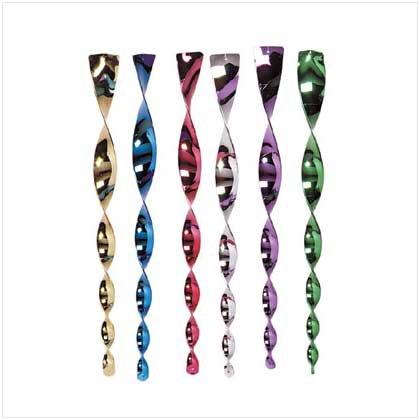 Rainbow Metallic Twirlers - Pack of 6
