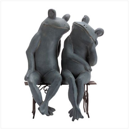 Loving Frogs On Bench Sculpture