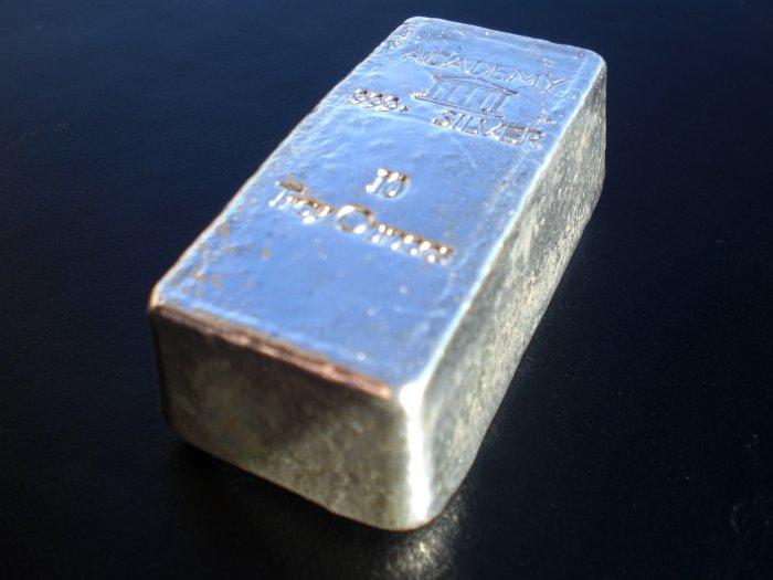 Silver Bullion Bar 10 Ounce Academy