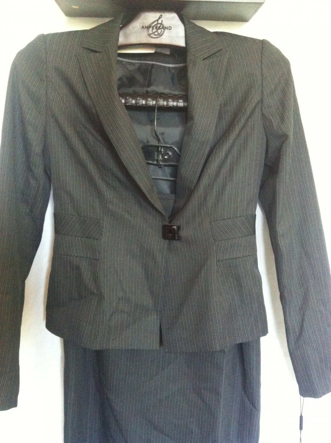 Calvin Klein CS1N6973 2pcs Suit Set Charcoal White Strip Size2