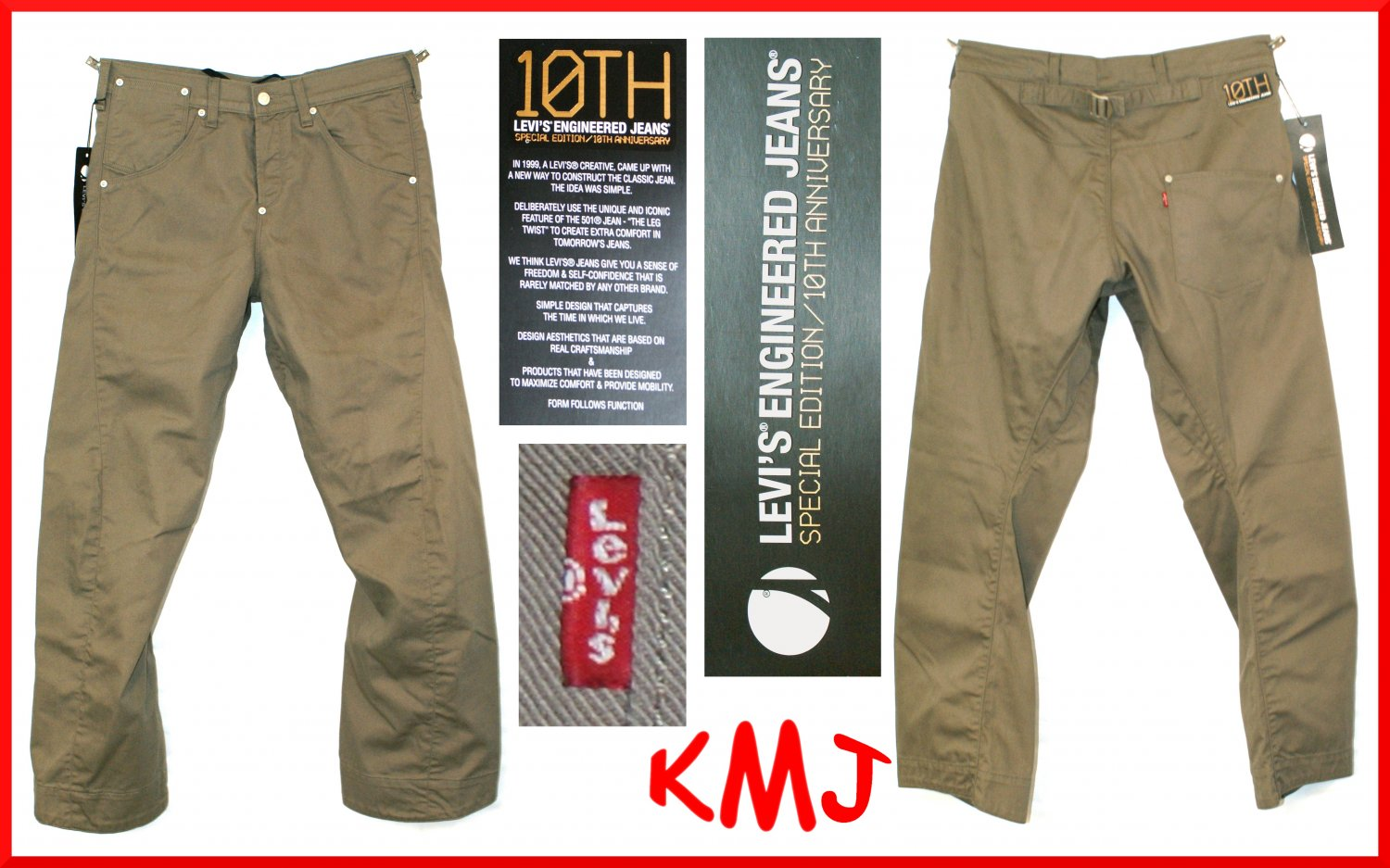 "LEVI'S ENGINEERED 10th ANNIVERSARY SPECIAL EDITION ""TOUGH COOKIE"" CINCH-BACK TWILL JEANS W27 L32"