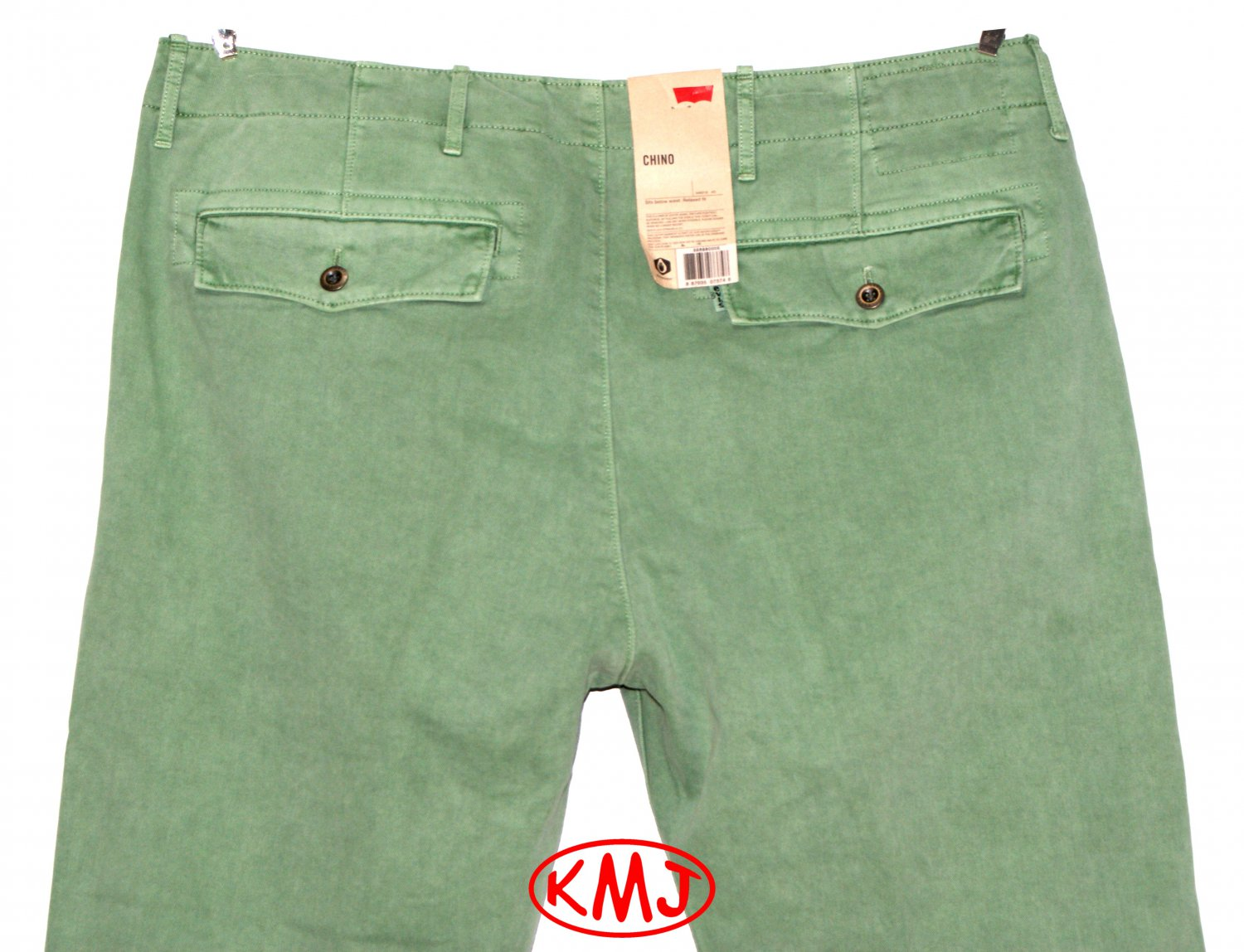 NWT LEVI'S CHINO RELAXED FIT PYTHON GREEN WATER-LESS TWILL TROUSER PANTS in size W30 L30