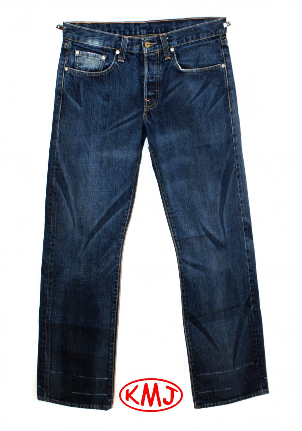 LEVI'S PREMIUM HESHER CAT SCRATCH BUTTON-FLY DENIM JEANS MADE IN USA W32 L32 (Actual size 32 33)