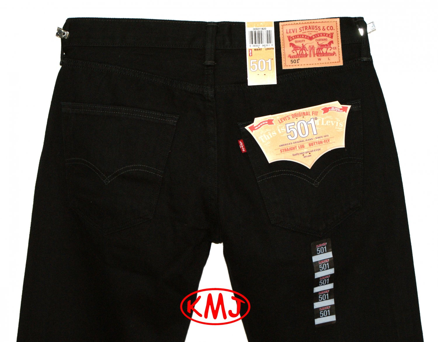 LEVI'S 501 CLASSIC STRAIGHT LEG BUTTON-FLY BLACK DENIM JEANS in size W31 L34 (Actual size 31 33)