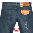 Brand New LEVI'S 501 CLASSIC BUTTON-FLY DESTRUCTED MEDIUM BLUE DENIM JEANS in size W32 L32