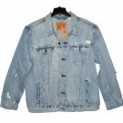 $89.50 LEVI'S TRUCKER JACKET RIPPED UPCYCLE DISTRESSED LIGHT BLUE DENIM JACKET - in size 3XL