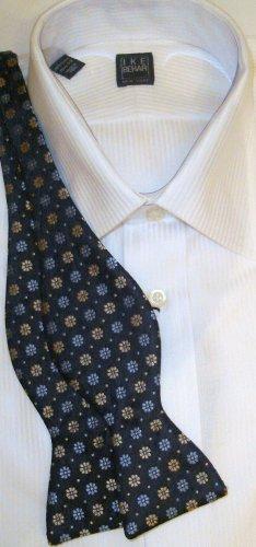 Bow Tie Blue/Gold Flowers Freestyle Silk - Free Worldwide Ship!