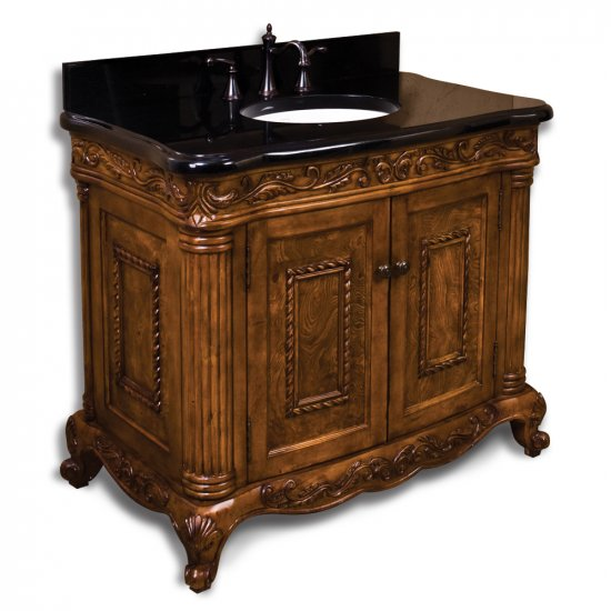 Burled Ornate Bathroom Vanity