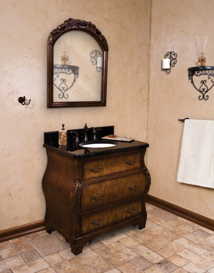 Complete walnut bombe bathroom vanity Complete bathroom vanity
