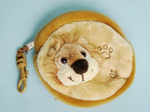 Change Cash Money Purse with Keychain lion head embelishment plush fabric