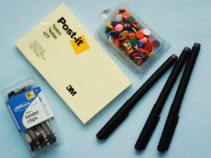 Mixed Lot of Office Supplies binder clips thumb tacks post-it  metal point roller pens
