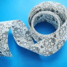 Two Sided Poly Ribbon with Gray Heart and Ribbon Design on White Background