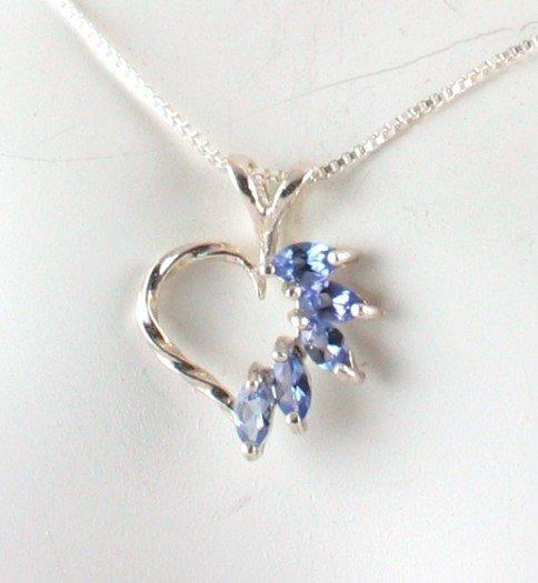Genuine Five Stone TANZANITE Sterling Silver Heart PENDANT & Chain