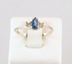 Fine Genuine Kanchanaburi SAPPHIRE & YELLOW DIAMOND Sterling RING