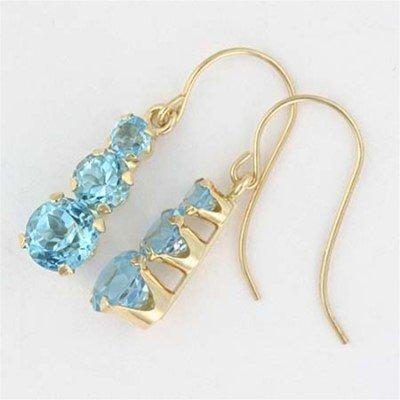 Genuine BLUE TOPAZ 10k Yellow Gold 3 Stone EARRINGS