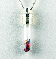 1.00ctw Genuine Multi Color SAPPHIRE Glass Vial PENDANT