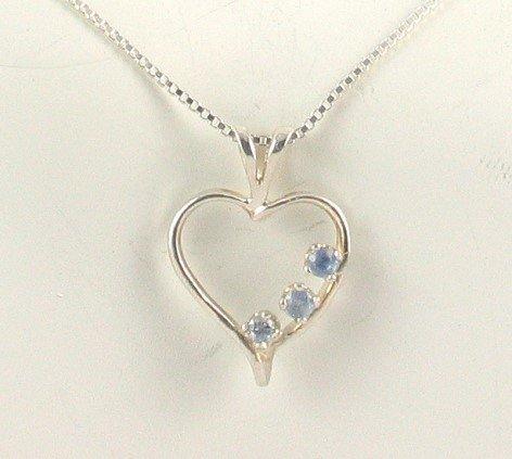 Sterling Silver Genuine CEYLON SAPPHIRE Heart PENDANT & Chain