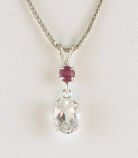 1ctw Genuine RUBY and WHITE TOPAZ Sterling Silver PENDANT