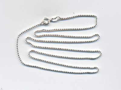 """Sterling Silver 18"""" Bead Ball Chain with Spring Ring Clasp"""