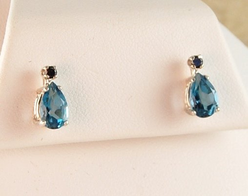 Genuine Swiss Blue TOPAZ & Black DIAMOND EARRINGS