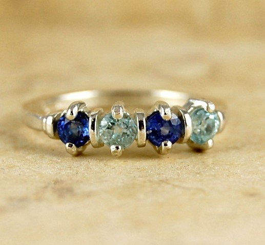 True Blue 1ctw Genuine SAPPHIRE & TOPAZ Sterling Silver RING