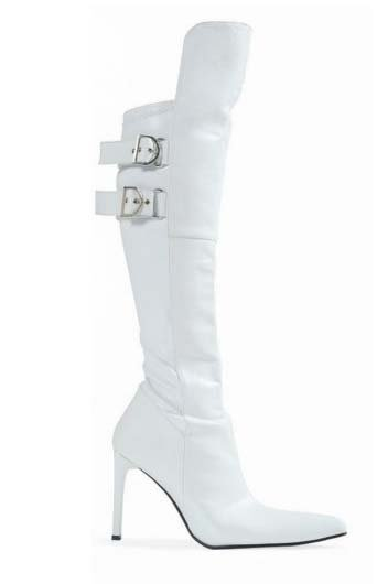 "Size 9 White Pirate Costume Cuff Bach 4"" Heel Knee High Boots"