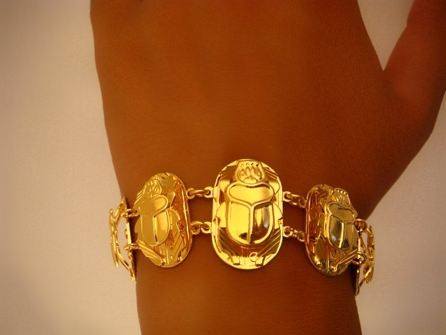 Egyptian Gold Plated Bracelet with 5 Scarabs Glyphs