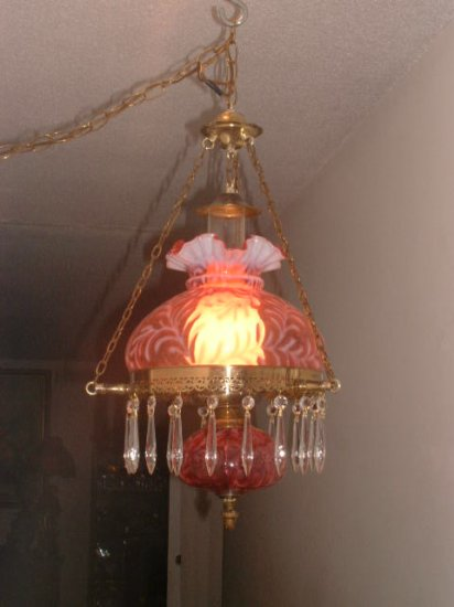 Fenton Cranberry Opalescent Daisy & Fern Hanging Lamp