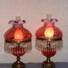 Fenton Cranberry Opalescent Daisy & Fern Lamp