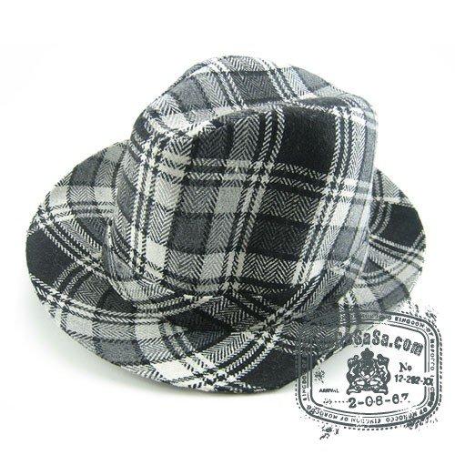 Man Cowboy Style Black / Grey Multi Col Fedora Hat
