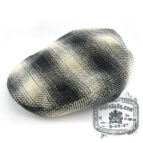 Man Woman Newsboy Style Black / Beige Multi Col Beret Hat