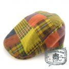 Man Woman Newsboy Style Yellow / Red Pattern Multi Col Beret Hat