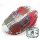 Man Woman Newsboy Style Red / White Pattern Multi Col Beret Hat